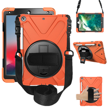 Silicon funda For iPad 9.7 2018 2017 case with pencil holder 360 rotate tablet kickstand shoulder strap conque A1893 A1822