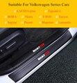 Автомобильный порог из углеродного волокна ПУ Накладка защита Добро пожаловать педаль для Volkswagen Sagitar Passat Magotan Lamando T-ROC Tayron BORA