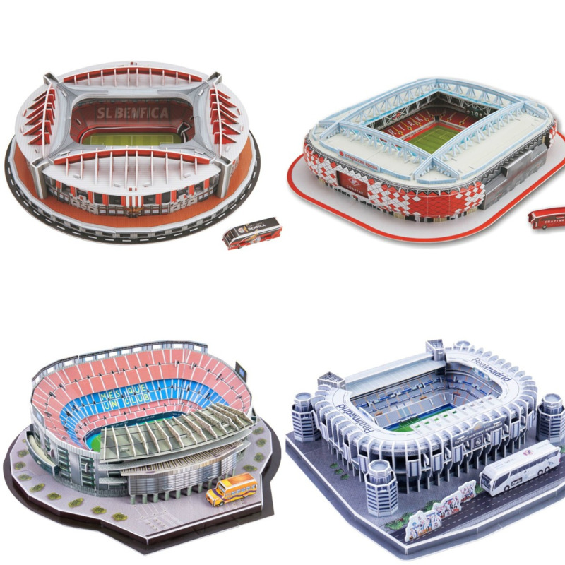 3D Puzzle World Famous Football Stadium European Soccer Playground Assembled Building Model Jigsaw Educational Toys For Children