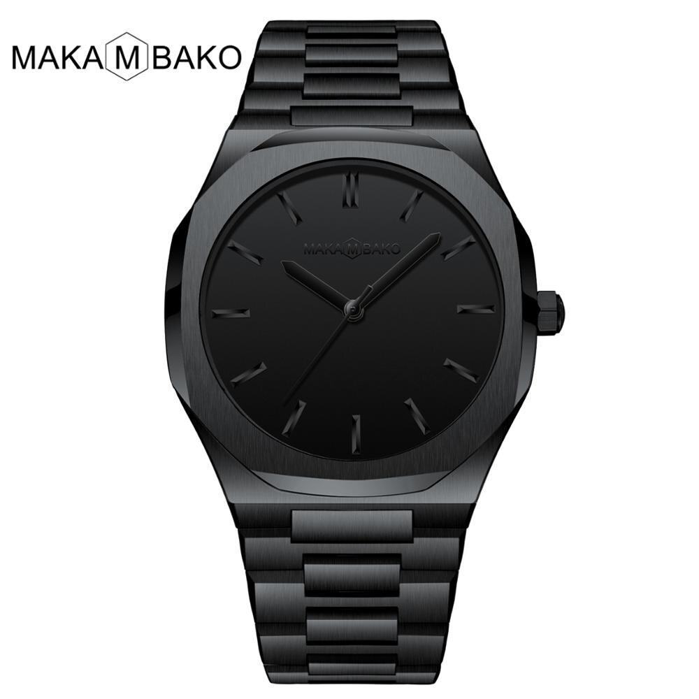 Drop Ship High Quality Japan Quartz Waterproof Butterfly Buckle Male Top Luxury Brand New Full Black Steel Wrist Watches For Men