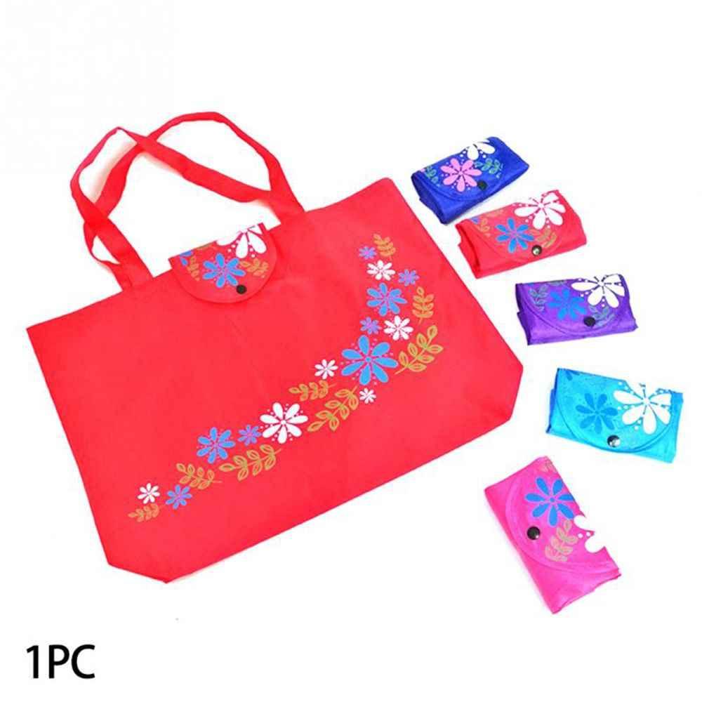 Heißer Verkauf 1PC Frauen Faltbare Einkaufstasche Reusable Floral Handtasche Große Kapazität Oxford Tuch Casual Einkaufstüte Durable Damen