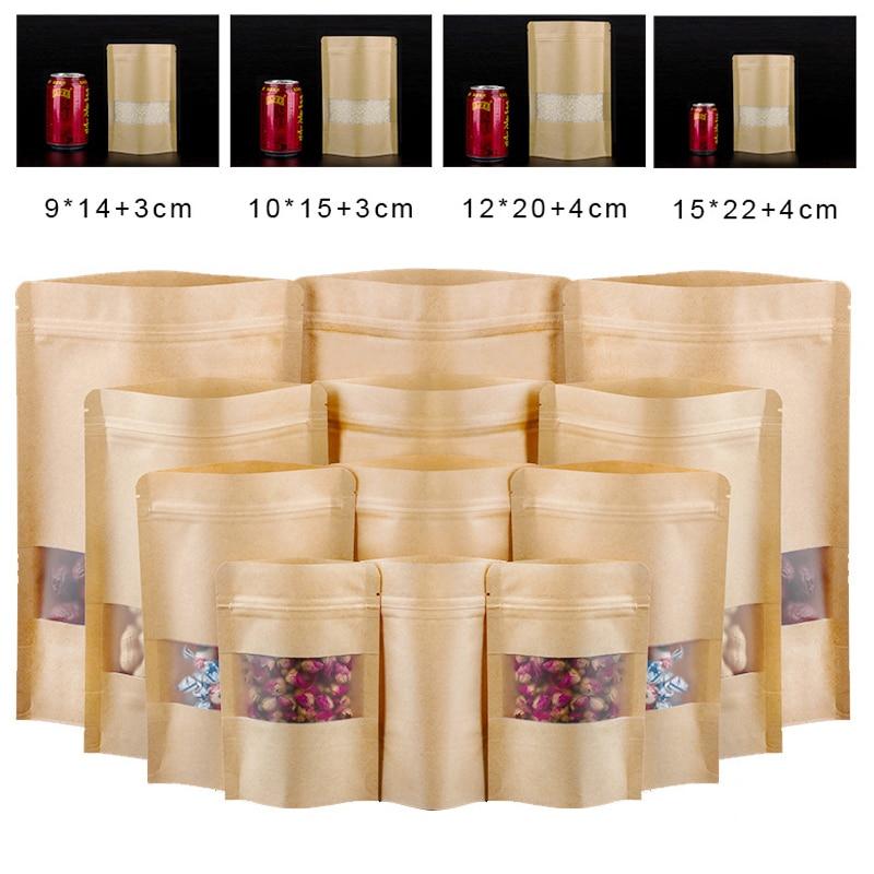 100 шт упаковка крафт застежка-молнии Бумага окно мешок встать подарок сушеные Еда Фруктовый чай мешки упаковки собственной личности застеж...