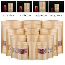 100 pces embalagem zip kraft saco de janela de papel levanta-se presente seco alimentos frutas chá embalagem malotes zíper auto selagem sacos