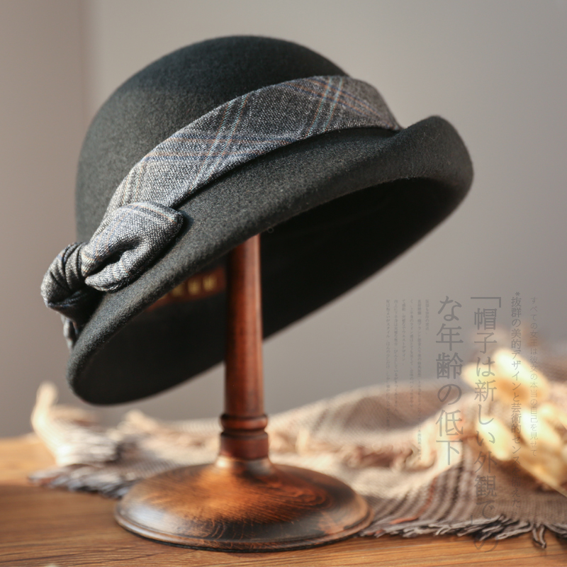 Sedancasesa Autumn Winter Fedora Hats for Woman Bucket Dome Wool Felt Fedoras Bowler Caps for Ladies with Bowknot <font><b>Church</b></font> Derby image
