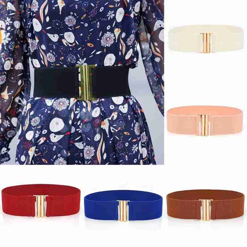 Women Wide Elastic Waist Belt Metal Buckle Belt For Dress Decoration Accessories Stretch Elastic Wide Corset Waist Band