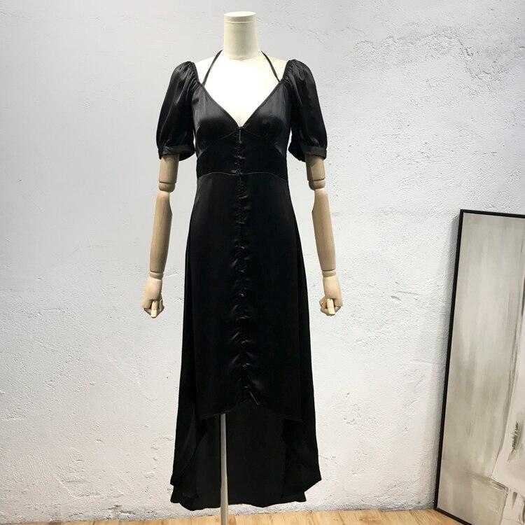 BacklakeGirls Abend Kleid Dark Black Halter V Neck Short Sleeve Sexy Open Back Silk Satin Long Evening Dresses Dluga Sukienka