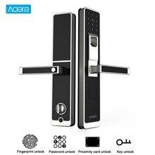 Aqara cerradura táctil inteligente para puerta ZigBee, contraseña de huella dactilar para seguridad del hogar, trabajo antifisgones con Mi aplicación para hogares, compatible con IOS y Android