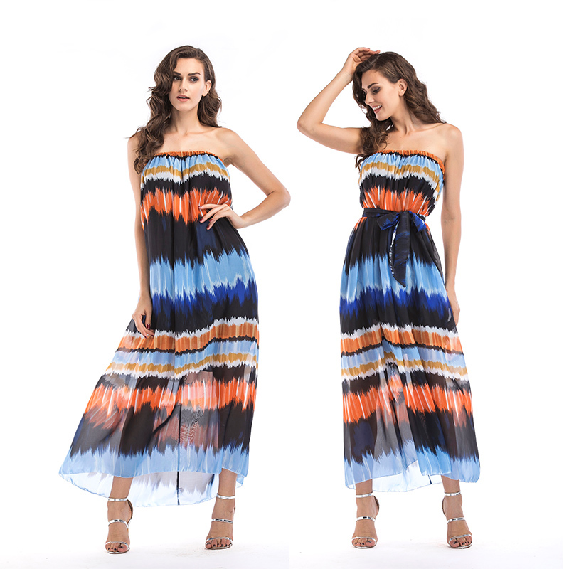 Beach Bohemian Summer Dress Strapless Sleeveless Party Dress Sling Ruffle Chiffon Dresses Sexy Dress Women Thin Slim 5505 in Dresses from Women 39 s Clothing