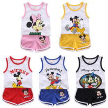 Baby Boy Clothes 2020 Summer Cartoon Sleeveless Vest+Shorts 2Pcs Children Clothing Outfits Girls Clothing Suits 2018 summer children clothing baby boy fashion cotton sleeveless star print top denim shorts baby boys clothing suit 2pcs s2