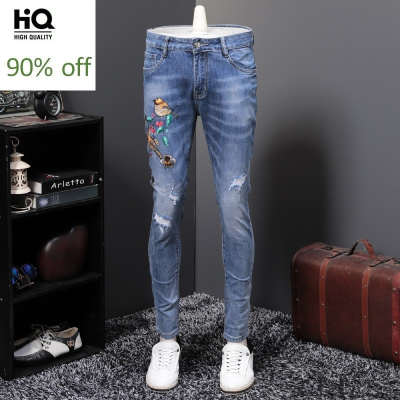 Top Brand New Embroidery Ripped Mens Denim Pencil Pants Full Length Slim Fit Personality Clubwear Casual Male Jeans Trousers
