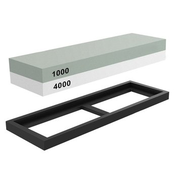 New Whetstone Sharpening Stone 1000/4000 Grit - Knife Sharpener Stone - Waterstone Rubber Stone Holder Included