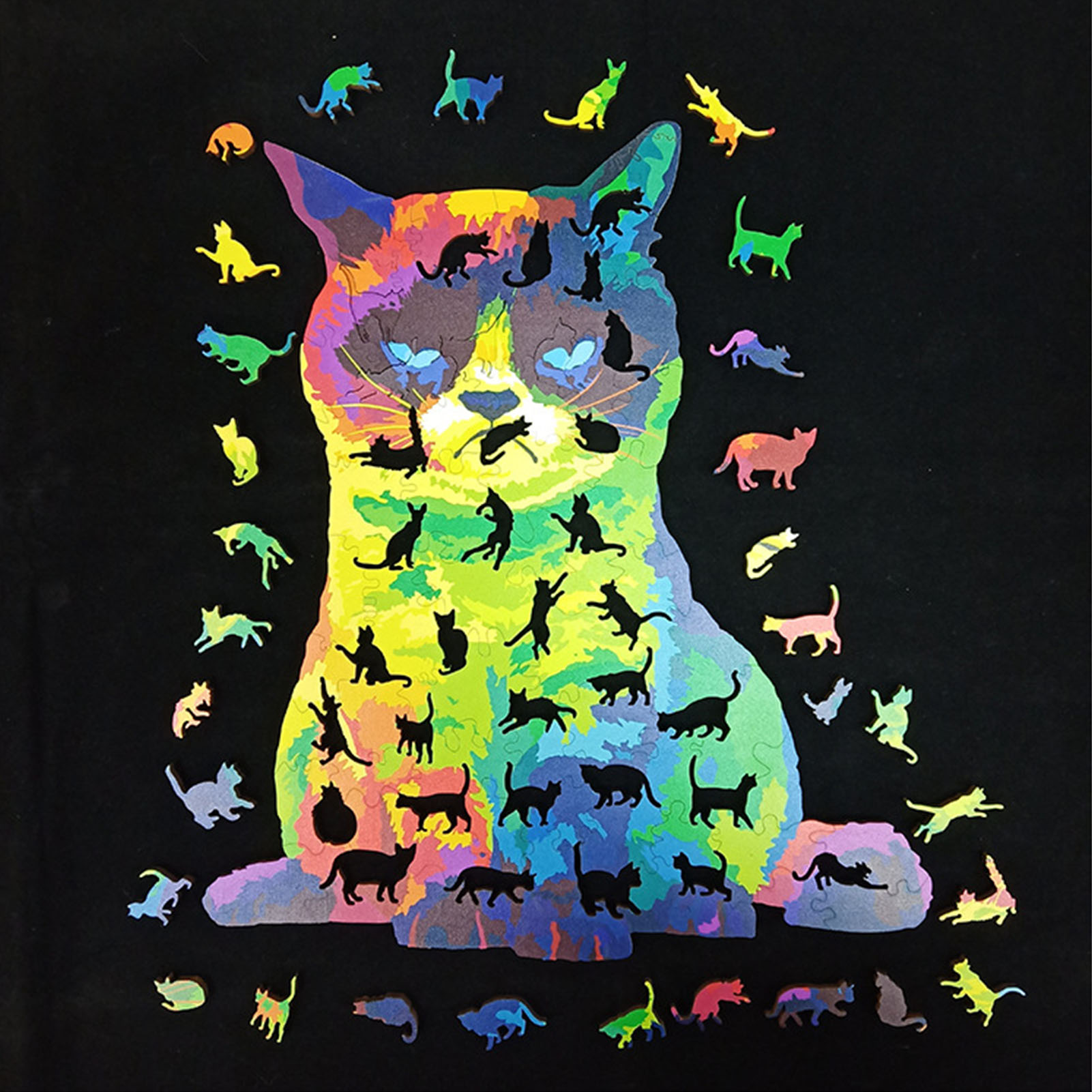 Wooden Jigsaw Puzzle Cat Unique Animal Pieces Gifts For Kids Adults Toy Game Toy