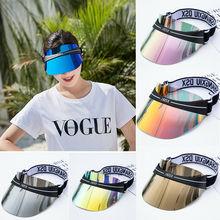 Пластиковые Солнцезащитные козырьки женские Большие Полями конфеты повседневные Непродуваемые шапки для езды на велосипеде УФ Защита солнцезащитные шапки