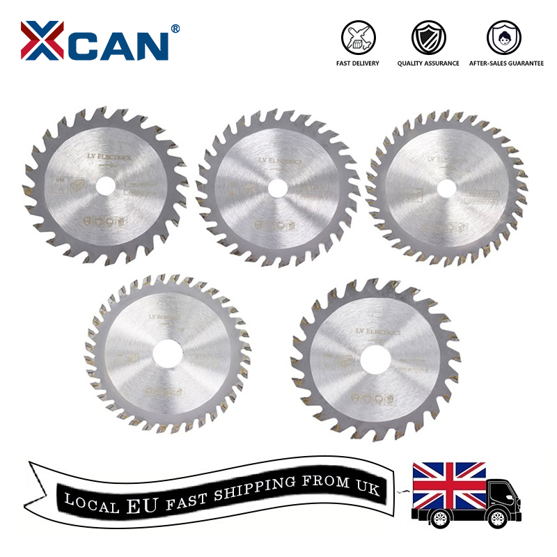 XCAN 5pcs 85mm Diameter 24/30/36Teeth Carbide Circular Saw Blade Mini TCT Cutting Disc Wood Saw Blades