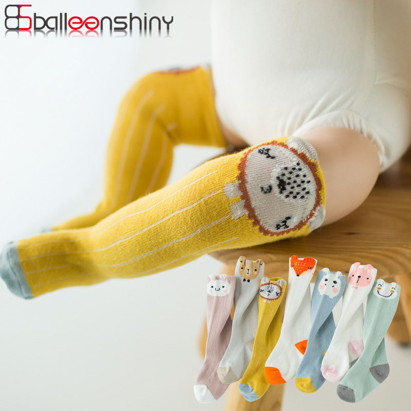 BalleenShiny Cartoon Animals Baby Socks High Knee Cotton Cute Child Anti-mosquito Socks For Boys Girls Kids Socks Leg Warmers