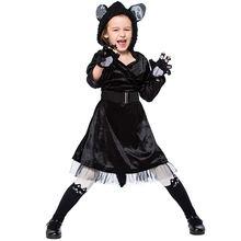 Костюм черной кошки для девочек косплей детский полный комплект