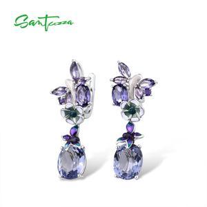 Image 2 - Женские серебряные серьги SANTUZZA, фиолетовые серьги подвески с бабочками из стерлингового серебра 925 пробы с кубическим цирконием, модные ювелирные изделия