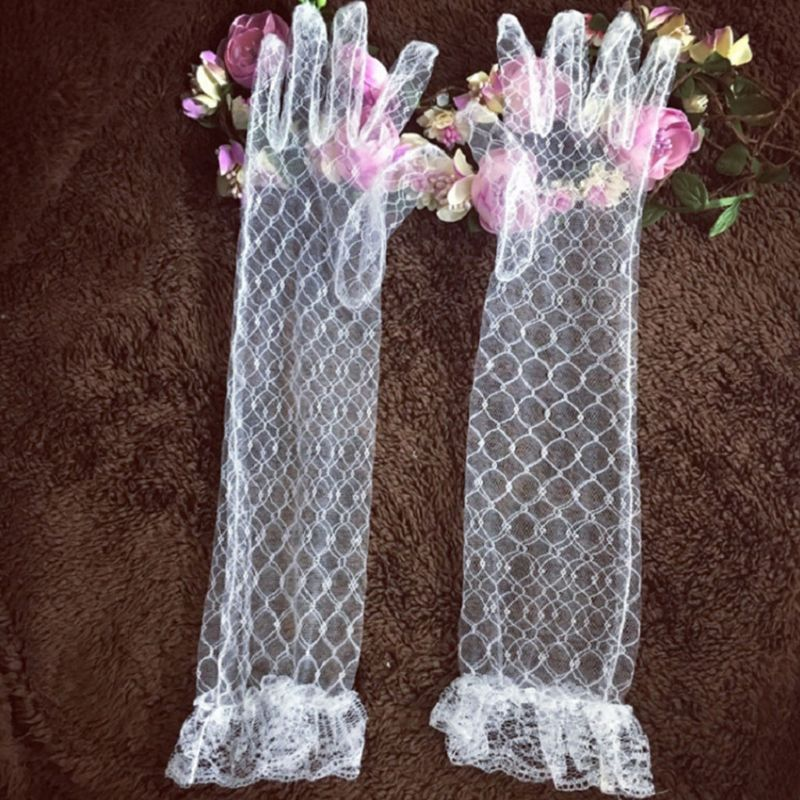 Womens White Stretchy Elbow Length Long Gloves Full Finger Rhombic Mesh Floral Lace Trim See Through Prom Party