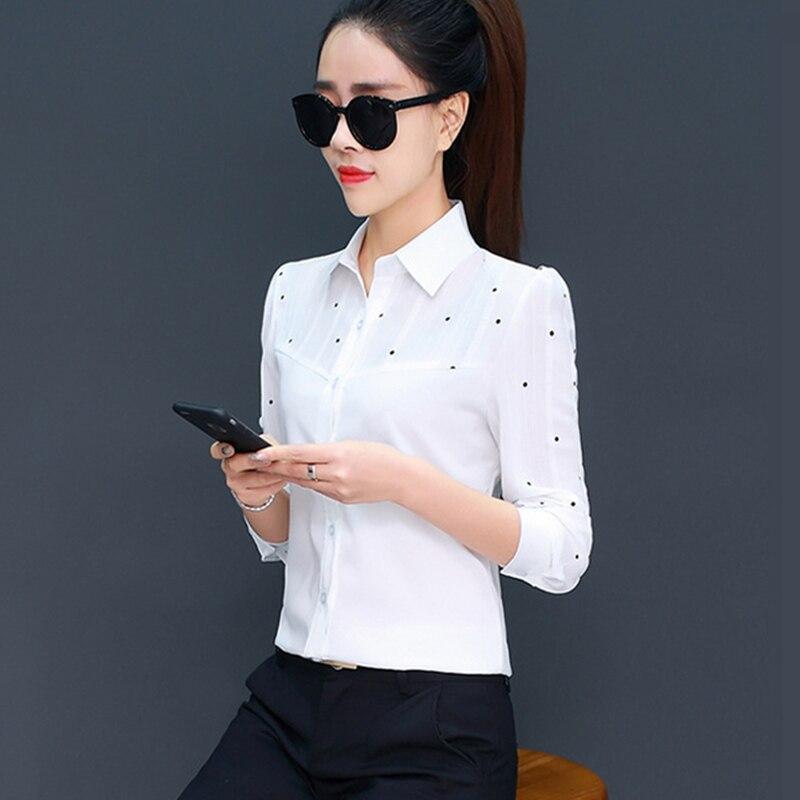 Korean Fashion Chiffon Women Blouses Office Lady Shirt and Blouse Dot Blusas Largas Plus Size XXXL/5XL Womens Tops and Blouses