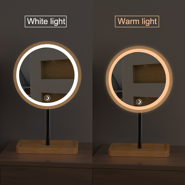 Wooden Desktop LED Makeup Mirror 3X Magnifying USB Charging Adjustable Bright Diffused Light Touch Screen Beauty Mirrors 3