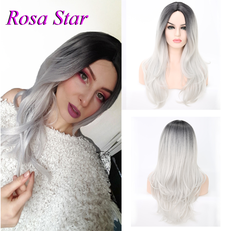 Rosa Star Ombre Long Wavy Synthetic Wig For Women Middle Part Heat Resistant Fiber Cosplay Costume Wigs 2 Color