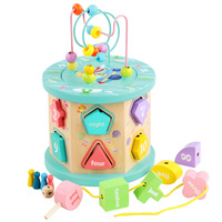 Baby Wooden Multifunctional Shape Rao Beads Beaded 3D Geometric Shapes Matching Puzzle Baby Early Learning Educational Toy