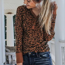 Women V-Neck Leopard Long Sleeve Blouse Top Ladies Autumn Casual Shirts