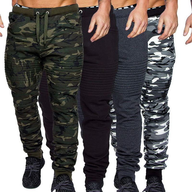2019 Camouflage Casual Fitness Trousers Mens Winter Warm Drawstring Closure Joggers Camo Jogger Pants Gym Athletic Sweatpants