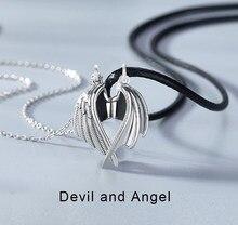 Moda casal demônio e anjo amor colares requintado anjo-asas pingente colar para mulheres amor testemunha casal colares