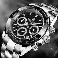 PAGANI DESIGN Men Watch Chronograph Multifunctional Stainless Steel Business Military Quartz Wristwatch Relogio Masculino VK63