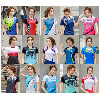 Женская теннисная рубашка, футболка для бадминтона для девочек, женская трикотажная спортивная одежда для настольного тенниса, одежда для ...