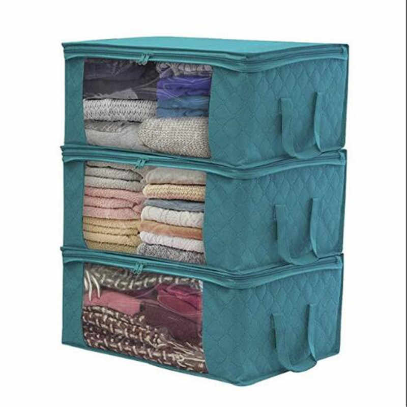 Clothes Organizer Non-woven Foldable Suitcase Home Storage Box Portable Container Bag