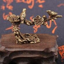 Copper Plum Tree Happy Magpie Bird Miniature Ornaments Antique Crafts Cuckoo Figurine Tea Table Decorations Desk Decor Gift джемпер plum tree plum tree pl010ewhhgo8