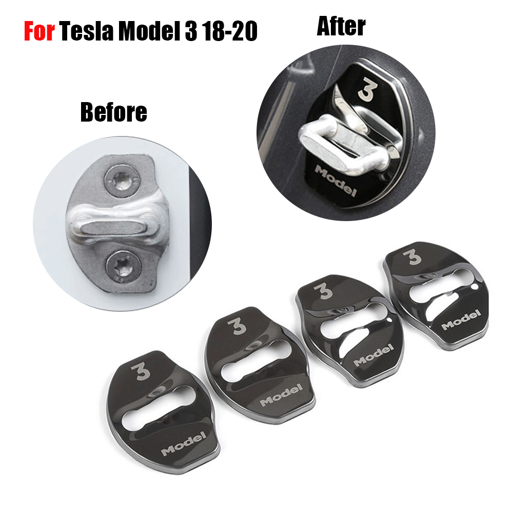 For Tesla Model 3 Car Door Lock Protection Cover Trim Black Color 4Pcs