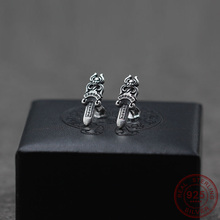 Stud-Earrings Sword 925-Sterling-Silver Jewelry Personalized Women Punk for Cool Hip-Hop