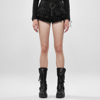 PUNK RAVE Women Steampunk Viper Stonewashing Shorts Punk Denim Cotton Linen Lace Personality Short Pants