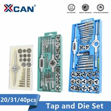 XCAN Tap and Die Set 20/31/32/40pcs  Screw Thread Plug Taps Wrench Die Alloy Steel Hand Tapping Tools Screw Tap Die