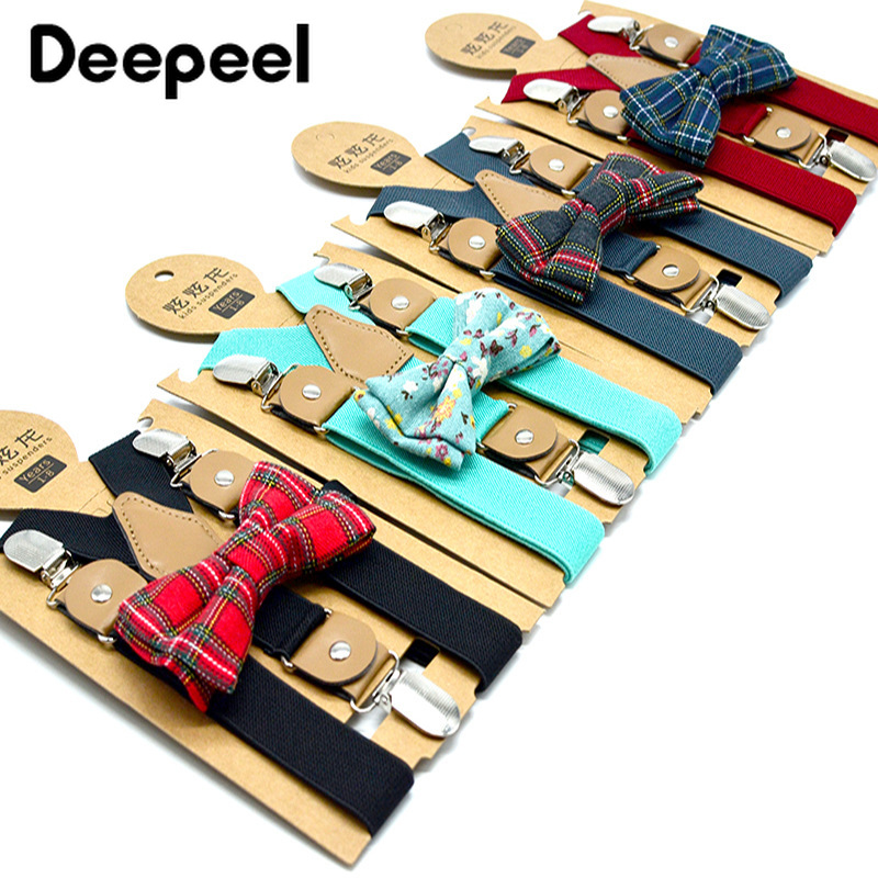 Deepeel 1pc 2.5cm*65cm Child Print Elastic Suspenders 3 Clips Y-Strap Pure Color Strap Clip Bow Tie Set Boys Suspenders SP602