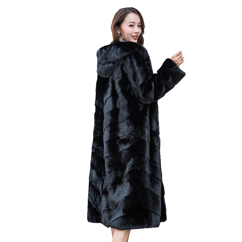 110CM Genuine Mink Fur Coat Jacket With Hoody Winter Women Fur X-Long Outerwear Coats Plus Size 4XL LF9122