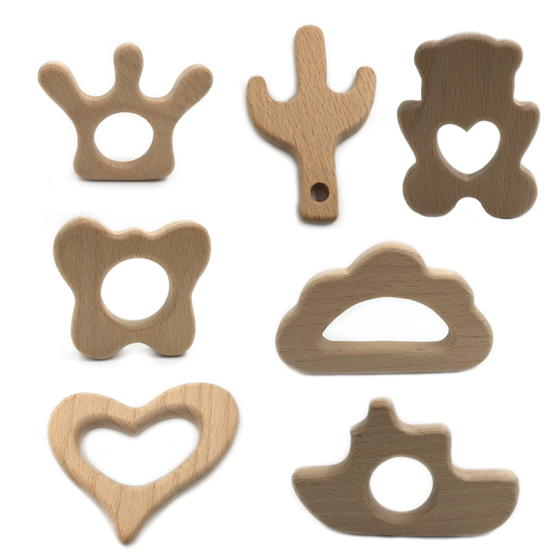 Beech Wood Teether Cartoon Wooden Animal Baby Teether Toy Safe Newborn Kids Teething Toys Chewable Silicone Beads Baby Products