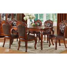 Wood dining table with real leather dining chair WA647