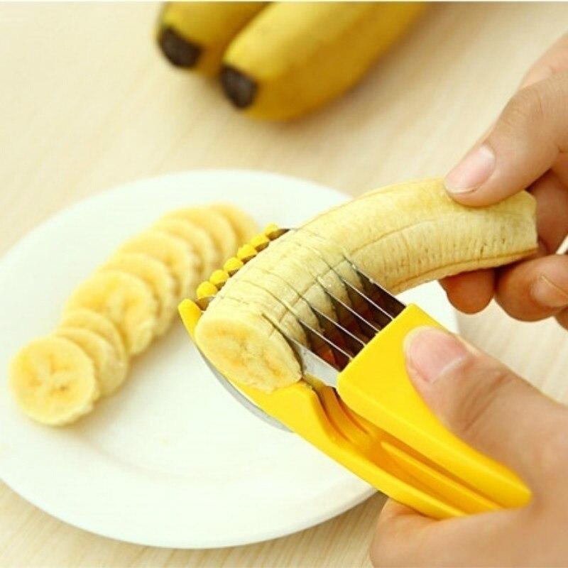 Нож для нарезки бананов, из нержавеющей стали, для фруктов, овощей, колбасы, слайсер для салатов, инструменты для готовки, кухонные аксессуар...