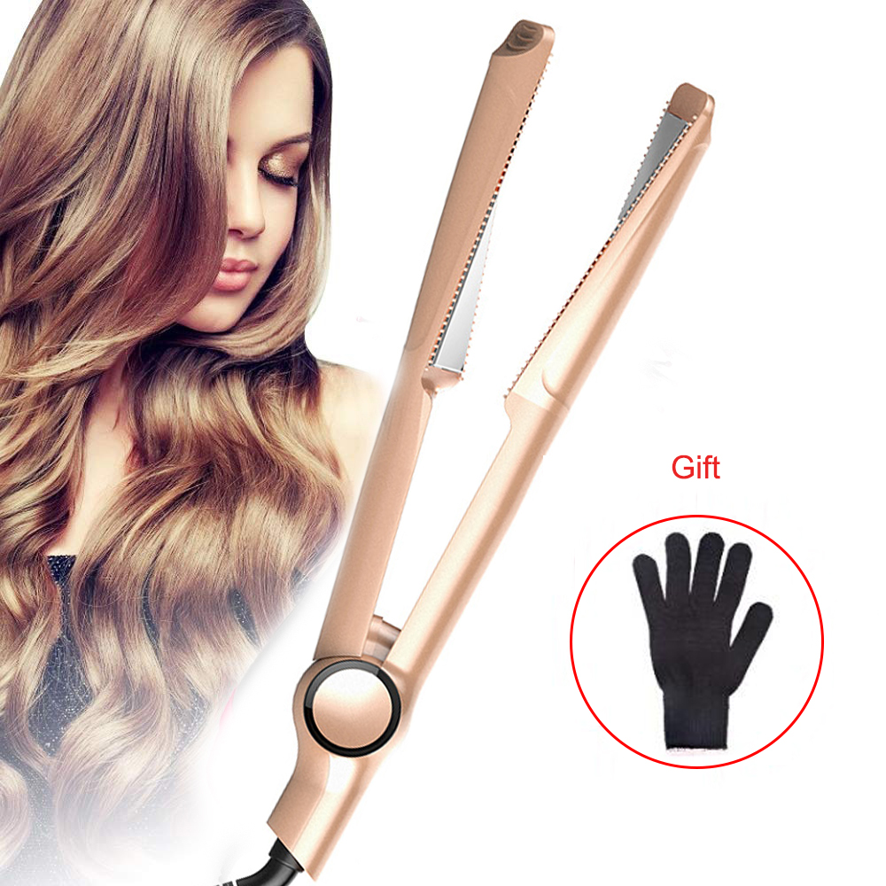 2 In 1 Spiral Hair Straightener Flat Irons Hair Curler Wand Professional Electric Straightening Iron Curling Irons Styling Tool