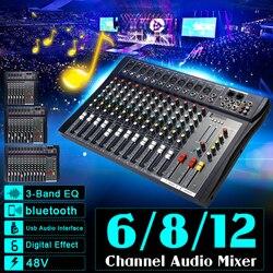 6/8/12 канал микрофона цифровой микшерная усилитель консоли профессиональный караоке аудио музыкальный ауодиопроцессор USB 48В Мощность