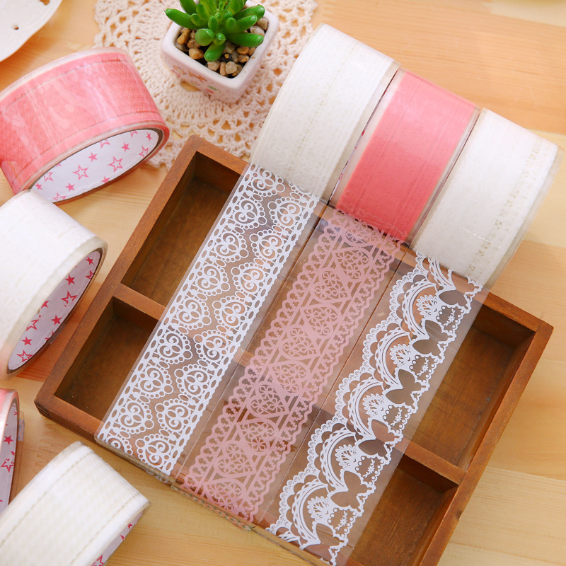 1Pcs 15M Lace Masking Tape Stickers Decorative Wide Color OPP Creative Sealing Scrapbooking School Office Supplies Stationery