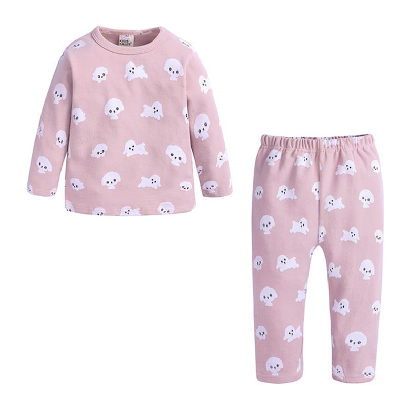 Spring Autumn New Knitted Cotton Homewear Suit Cute Printed 4 Colos 2PCS Girl Boy Long Sleeve Top Trousers Casual Pajama Outfit 3