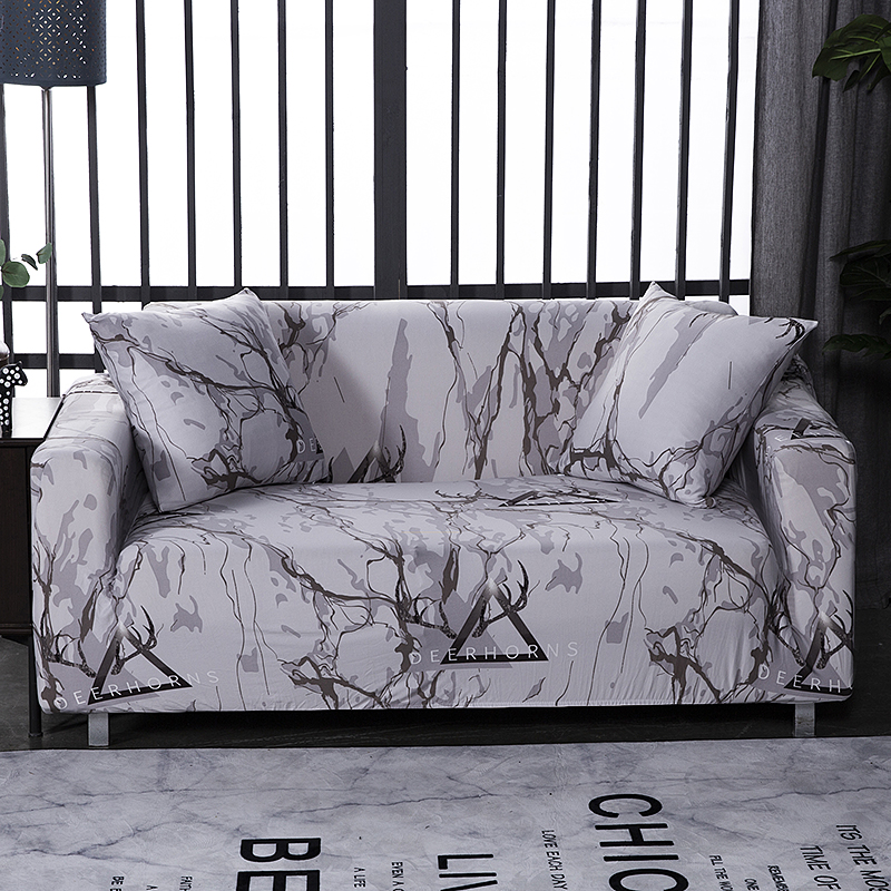 Marble sofa cover spandex for living room elastic material double-seat sofa loveseat chair slipcovers couch covers