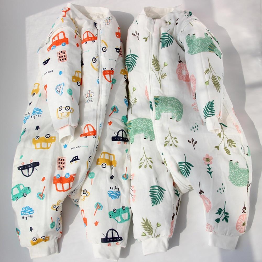 Baby Sleeping Bag Children Sleepwear Jumpsuit Cartoon Split Leg Sleepsack Warm Winter Anti Tipi Cotton Kids Thick Cloth 2019