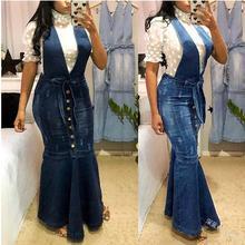 цена на Suspender Skirt Women Africa Overalls No Stretch V-neck Buttons Maxi Long Skirt Mermaid Trumpet Empire High Waist Jeans Ankle