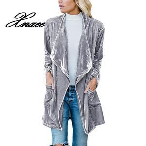 Image 5 - Xnxee Langarm Retro Samt Blazer Jacke Frau Drapierte Vorne Offen Damen Elegante Lange Stil Blazer Frühling Auutumn